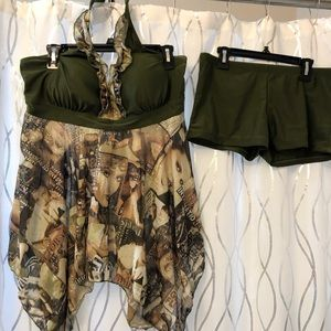 Two-piece swimsuit extra large olive green